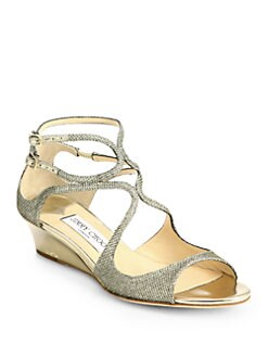 Jimmy Choo - Inka Glitter Lamé Demi-Wedge Sandals