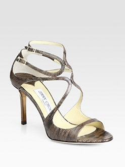 Jimmy Choo - Ivette Lizard-Print Leather Sandals