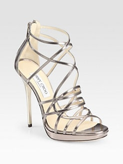 Jimmy Choo - Myth Mirror Leather Platform Sandals