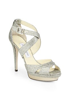 Jimmy Choo - Kuki Glitter Lam&#233; Platform Sandals