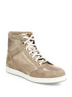 Jimmy Choo - Tokyo Glitter & Suede High-Top Sneakers