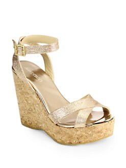 Jimmy Choo - Papyrus Glitter Cork Wedge Sandals