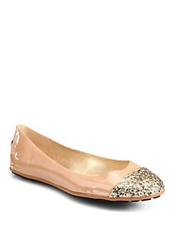 Jimmy Choo - Whirl Glitter-Coated Patent Leather Ballet Flats