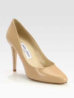 Jimmy Choo - Vikki Almond Leather Pumps