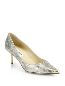 Jimmy Choo - Aurora Glitter-Coated Leather Pumps