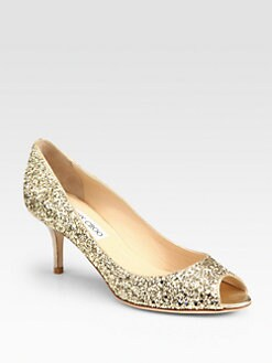 Jimmy Choo - Isabel Glitter-Coated Metallic Leather Pumps