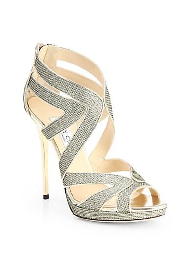 Collar Glitter Lame Platform Sandals