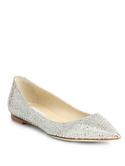 Jimmy Choo - Alina Glitter Point-Toe Ballet Flats