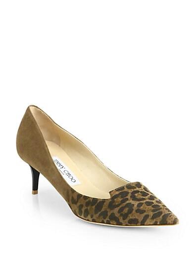 Allure Leopard Suede Kitten Heel Pumps