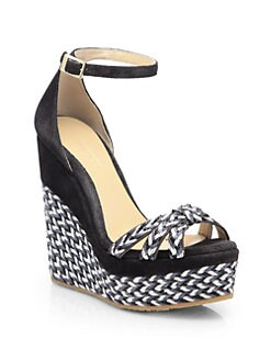 Jimmy Choo - Promise Suede Woven Espadrille Wedge Sandals
