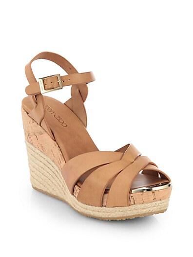 Pallet Leather Espadrille Wedge Sandals
