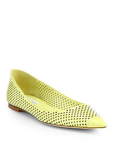 Jimmy Choo Alina Perforated Patent Leather Ballet Flats