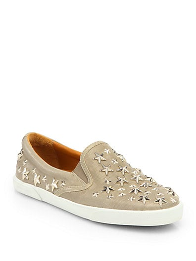 Demi Star-Studded Leather Laceless Sneakers