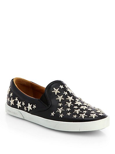Star-Studded Leather Slip-Ons