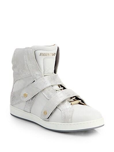 Yazz Metallic Suede High-Top Wedge Sneakers