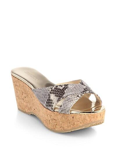 Prima Snakeskin Cork Wedge Sandals