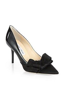 Jimmy Choo - Fitz Patent Leather & Satin Bow Pumps