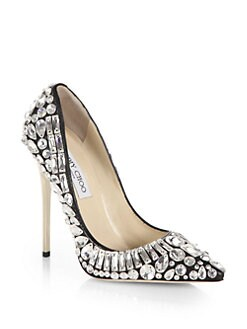Jimmy Choo - Tia Jeweled Leather Pumps