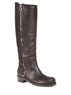 Jimmy Choo - Doreen Zipper-Trimmed Leather Knee-High Boots