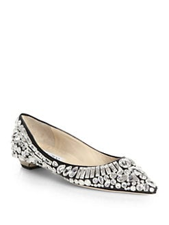 Jimmy Choo - Tibet Jeweled Leather Point-Toe Flats