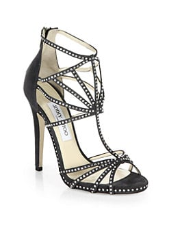Jimmy Choo - Vendetta Crystal-Coated Suede Cage Sandals