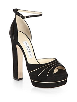 Jimmy Choo - Larissa Chain-Trimmed Suede Ankle-Strap Sandals