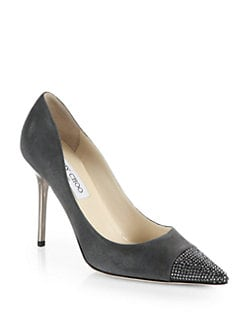 Jimmy Choo - Amika Crystal-Coated Suede Pumps