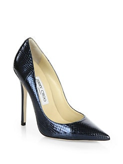 Jimmy Choo - Anouk Metallic Snakeskin Pumps