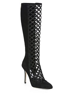 Jimmy Choo - Delta Suede Lattice Knee-High Boots