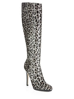 Jimmy Choo - Gecco Leopard-Print Pony Hair Knee-High Boots