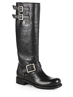 Jimmy Choo - Yule Leather Buckle Biker Knee-High Boots