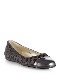 Jimmy Choo - Whirl Leopard-Print Pony Hair & Metallic Leather Ballet Flats