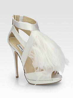 Jimmy Choo - Teazer Ostrich Feather Satin Platform Sandals