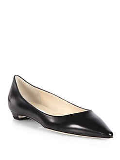 Jimmy Choo - Sandy Leather Point-Toe Flats