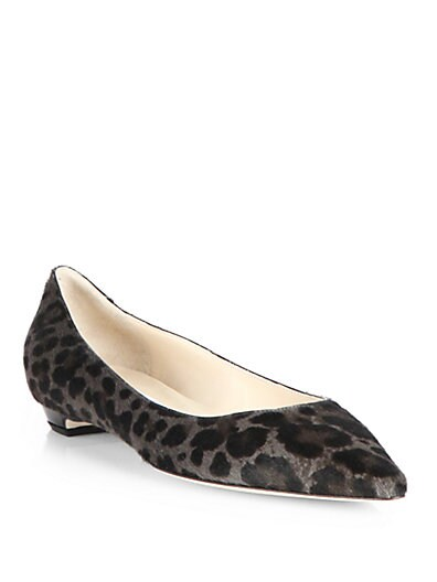 Sandy Leopard-Print Pony Hair Flats