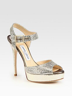 Jimmy Choo - Linda Glitter-Coated Leather Platform Sandals