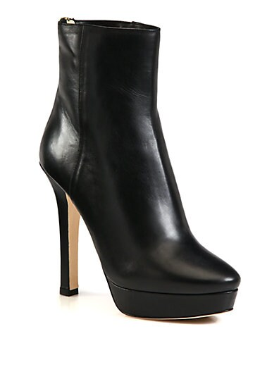 Magic Leather Platform Ankle Boots