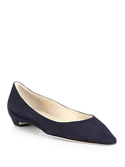 Jimmy Choo - Sandy Suede Point-Toe Flats