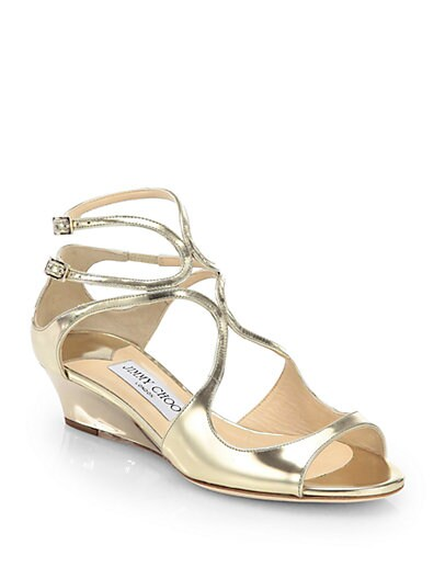 Inka Mirror Leather Demi-Wedge Sandals