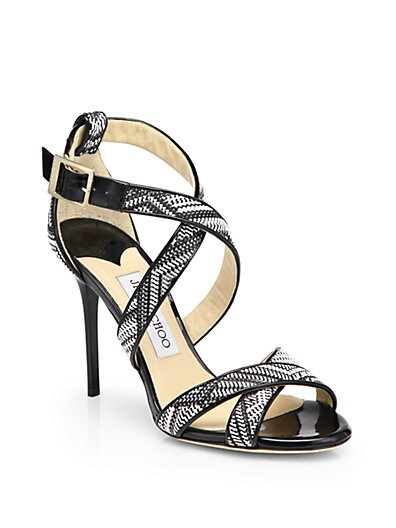 Lottie Woven Cross-Strap Sandals