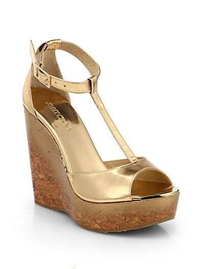 Pela Degrade Metallic Leather Cork Wedge Sandals