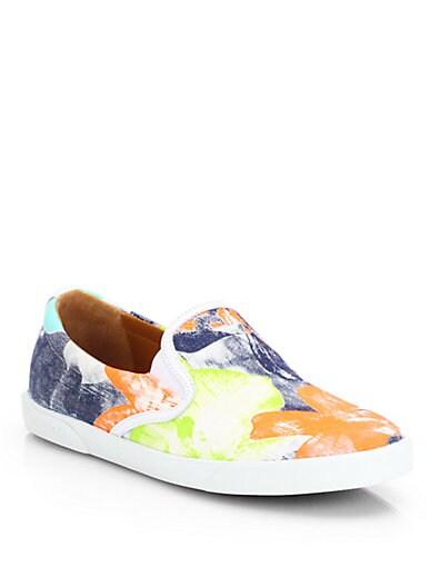 Demi Canvas Flower-Print Laceless Sneakers