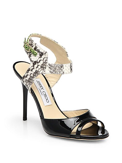 Marcia Patent Leather  Snakeskin Sandals