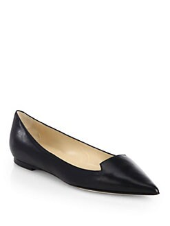 Jimmy Choo - Attila Kid Leather Point-Toe Flats