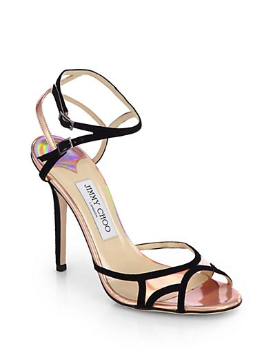 Rocks Iridescent Leather  Suede Sandals