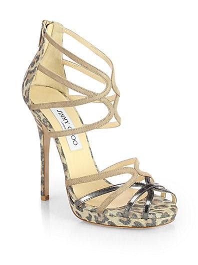 Florida Leopard-Print Metallic Suede Sandals