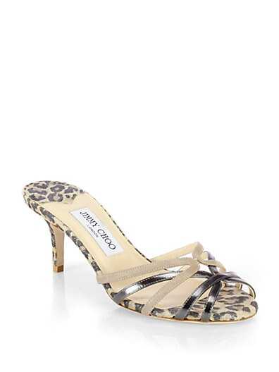 Float Leopard-Print Metallic Suede Strappy Slides