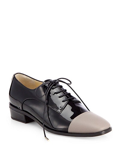 Werner Patent Leather Cap-Toe Lace-Up Oxfords
