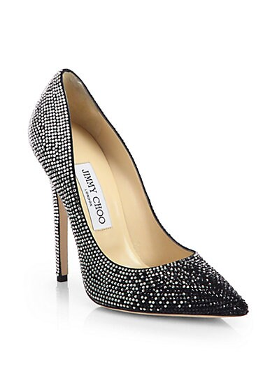 Tartini Crystal-Coated Suede Degrade Pumps