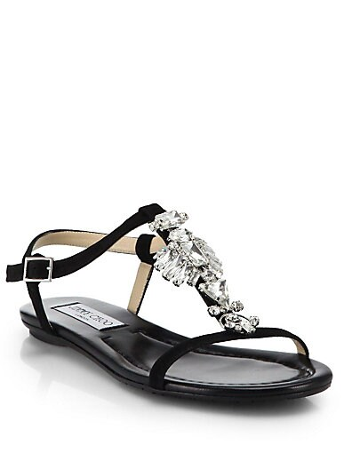 Night Crystal-Detail Suede Sandals